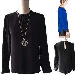 ZARA Long Sleeve Top with Leather Detail - Size XS